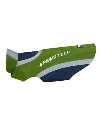 green and navy reflective dog jacket with fleece