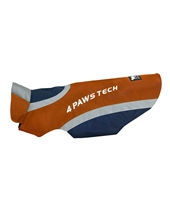 orange and navy reflective dog jacket with fleece