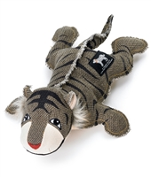 black and brown striped canvas and cotton stuffed tiger toy for dogs