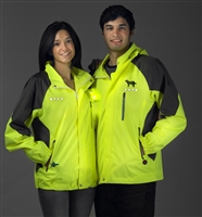 yellow and black windbreaker jacket with leds