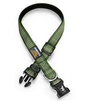 green dog collar with reflective stitching