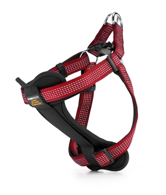 red padded dog harness with reflective stitching