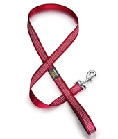 red dog leash with reflective stitching