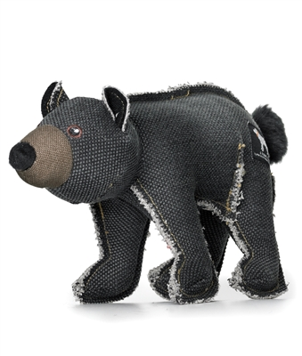 black canvas and cotton stuffed bear toy for dogs