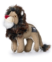 tan canvas and cotton stuffed lion toy for dogs